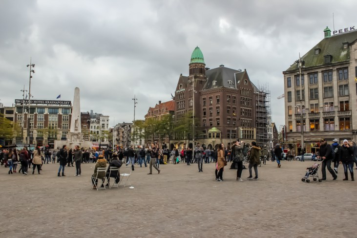 People gather on Dam Square, Amsterdam, Netherlands