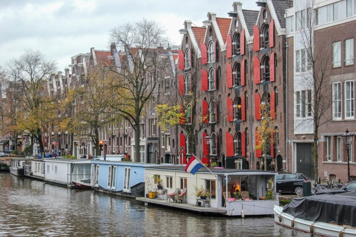 Houseboats on canal, Amsterdam, Netherlands