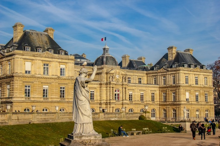 Statue in gardens at Luxembourg Palace in Paris, France