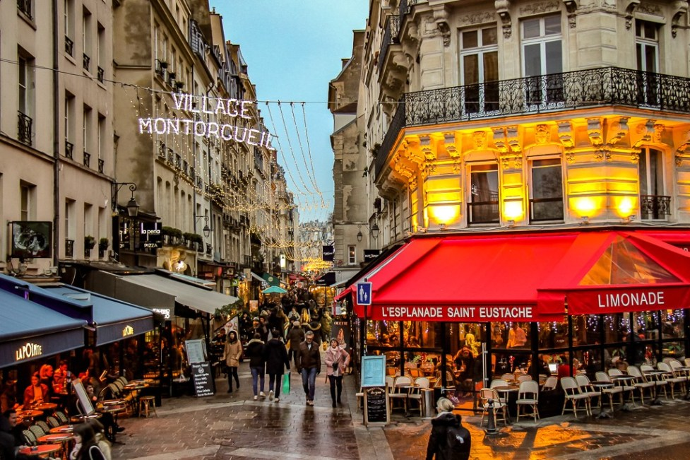 Picturesque shopping street Rue Montorgueil in Paris, France