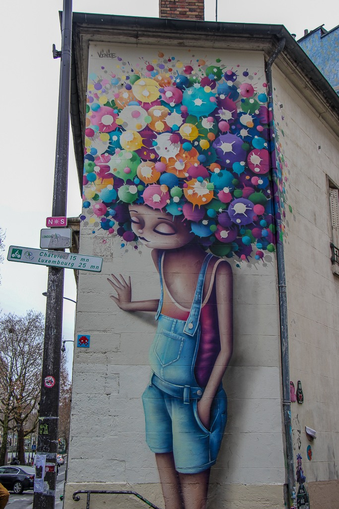 Colorful street art in Paris, France
