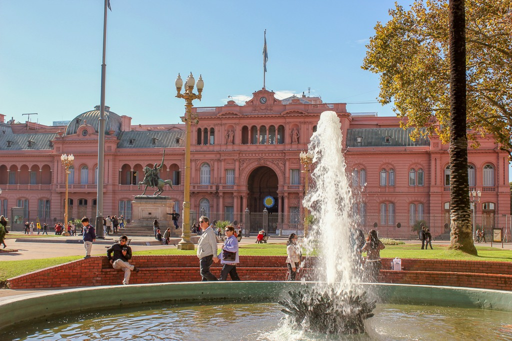 Casa Rosada and water fountain on Plaza de Mayo in Buenos Aires, Argentina