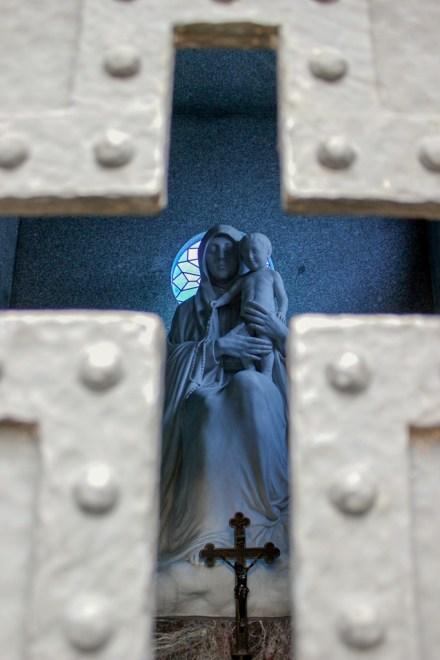 Sculpture inside mausoleum at Recoleta Cemetery in Buenos Aires, Argentina