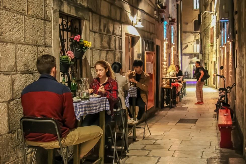 Outside tables, Villa Spiza, Split. Croatia