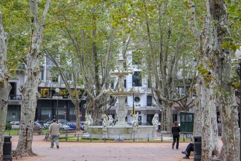 Fountain in Plaza Constitucion in Montevideo, Uruguay