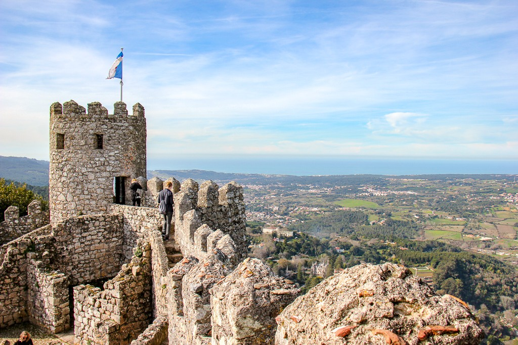 Views from Castle Keep at Moorish Castle in Sintra, Portugal
