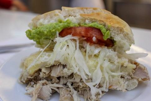 Lomito Completo sandwich at Fuente Alemana in Santiago, Chile