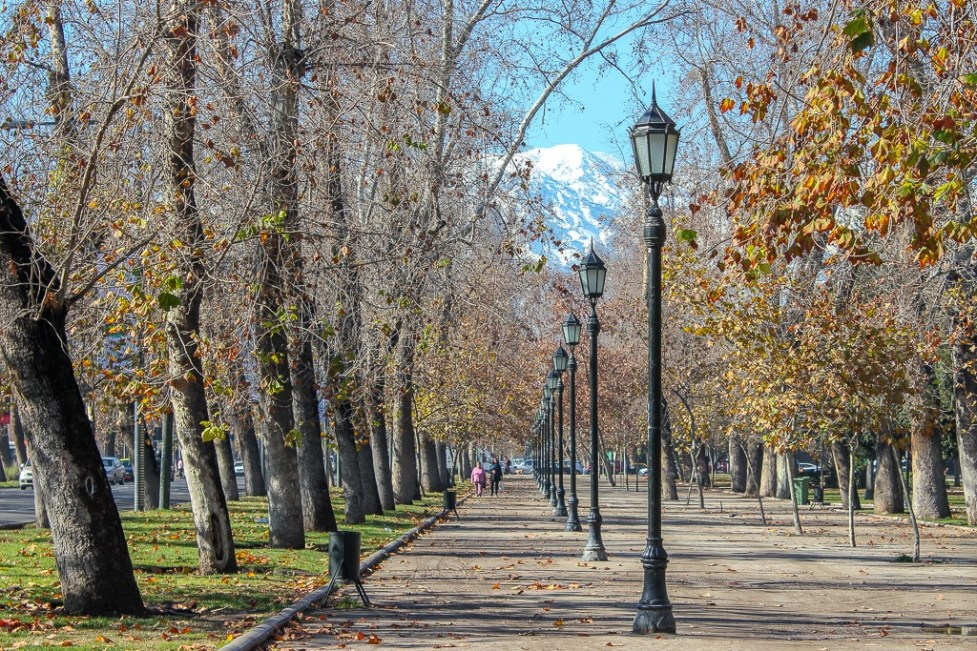 Path in Parque Forestal in Santiago, Chile
