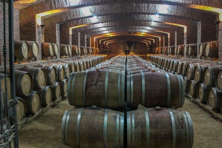 Barrels in wine cellar at Undurraga Winery near Santiago, Chile