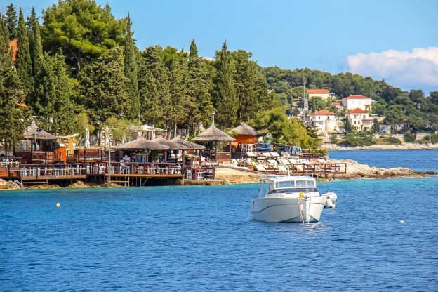 Popular waterfront Hula Hula Bar in Hvar Town on Hvar Island, Croatia