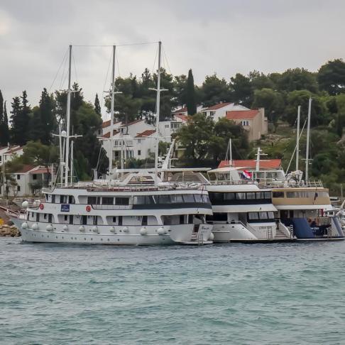 Boats docked at Lumbarda Port on Korcula Island, Croatia