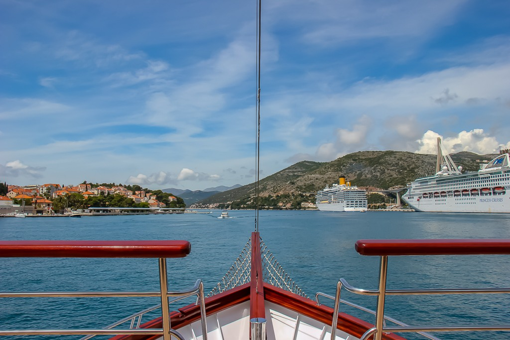 Almissa Bow View while sailing from Dubrovnik, Croatia on Adriatic Sea Cruise