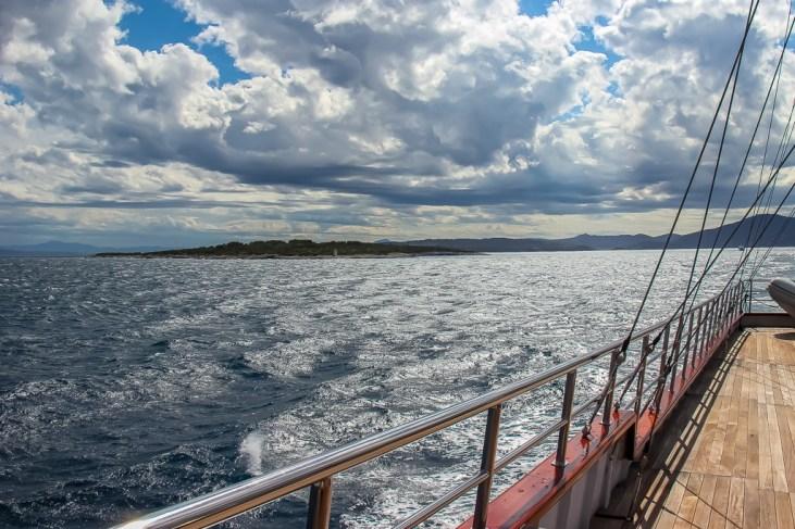 Sailing in the Adriatic Sea to Vis Island, Croatia