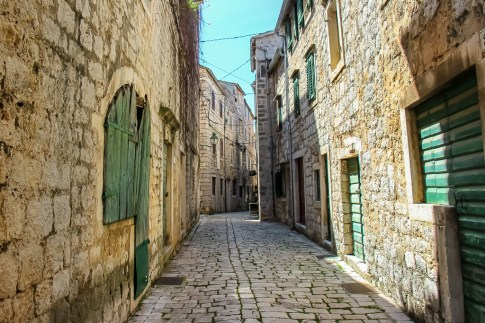 Historic cobblestoned lanes in Stari Grad on Hvar Island, Croatia