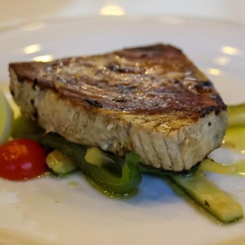 Tuna steak with vegetables for lunch aboard Sail Croatia Almissa ship