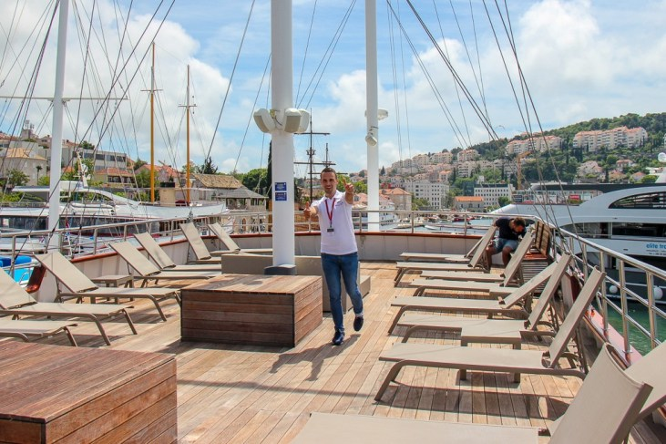 Vedran, the Sail Croatia On-Board Rep, gives thumbs up