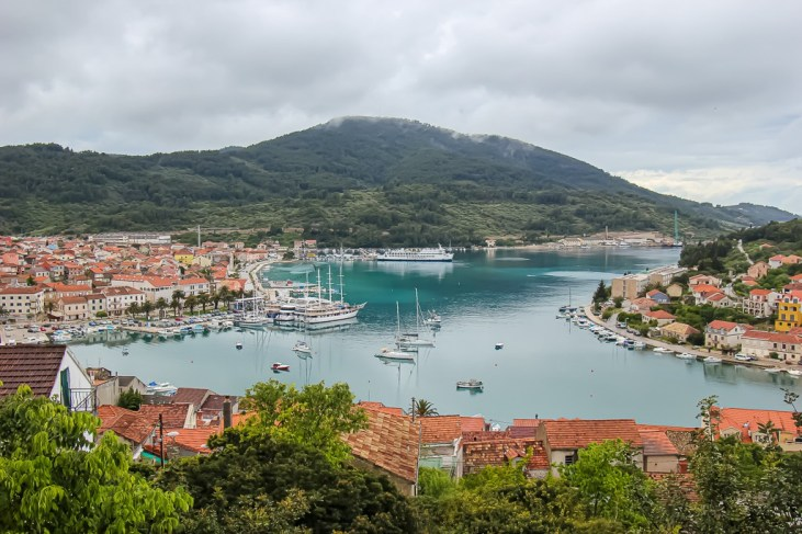 View of Vela Luka harbor from hillside on Korcula Island, Croatia