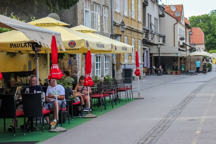 Outdoor tables on Beer Street in Zagreb, Croatia