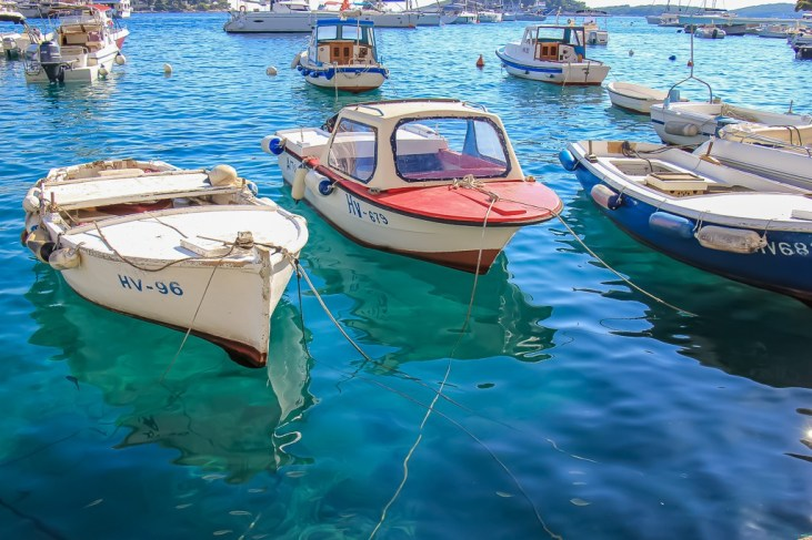 Boats in the harbor in Hvar Town, Croatia