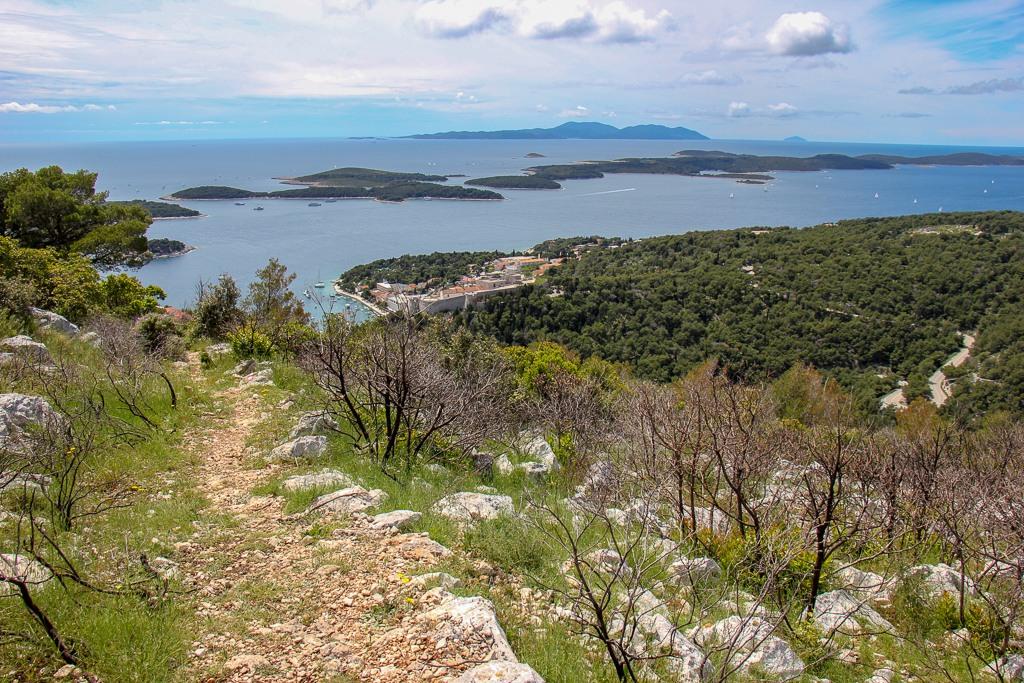 Hiking trail to Napoleon Fortress in Hvar, Croatia