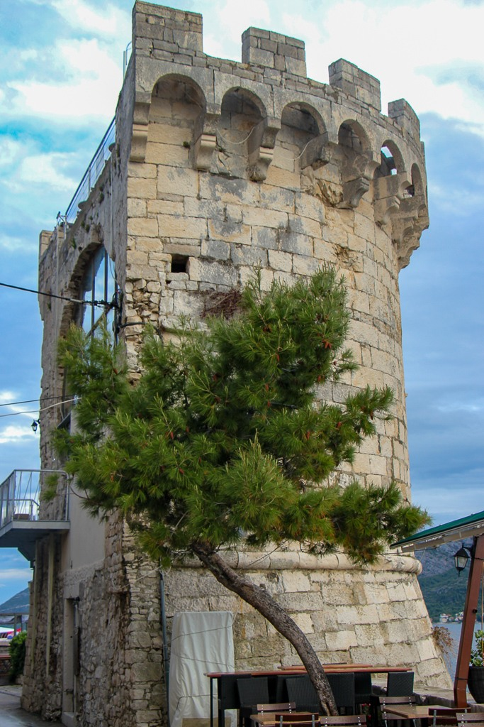 Tower that houses Massimo Bar on Korcula Island, Croatia