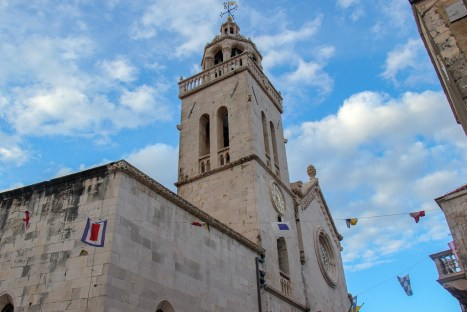 Bell Tower at St. Mark's Church in Old Town on Korcula Island, Croatia