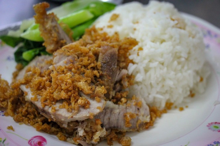 Crispy Pork Neck with Garlic Signature Dish at Kieng Aroy in On Nut, Bangkok, Thailand
