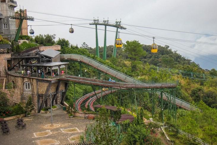 Alpine coaster slide and cable car at Ba Na Hills in Da Nang, Vietnam
