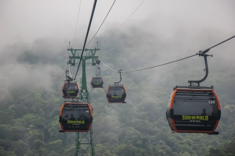 Cable cars in cloudy mountain in Ba Na Hills in Da Nang, Vietnam