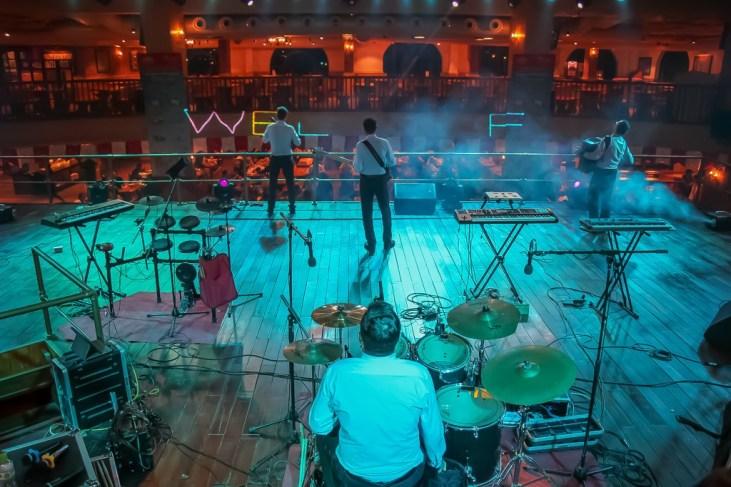 Drummer and band performing at Beer Plaza at Ba Na Hills in Da Nang, Vietnam