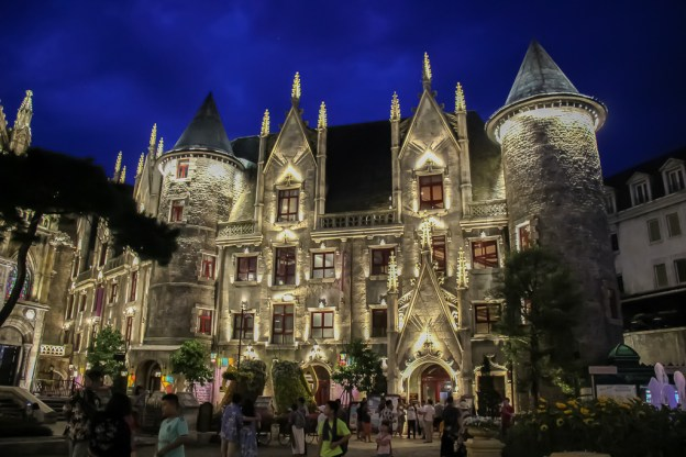 Replica building in Ba Na Hills French Village at night