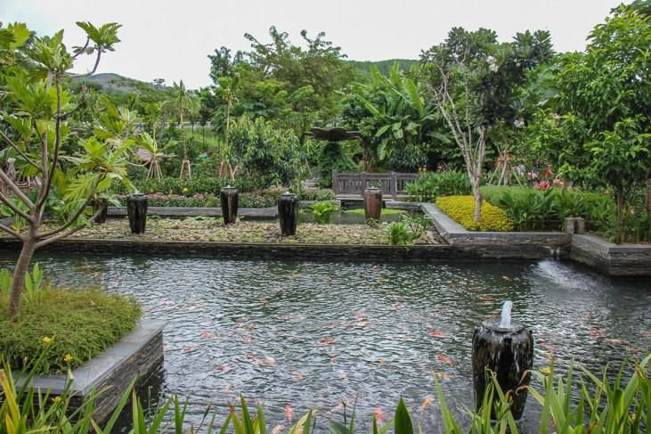 Koi fish pond at lower entrance to Ba Na Hills in Da Nang, Vietnam