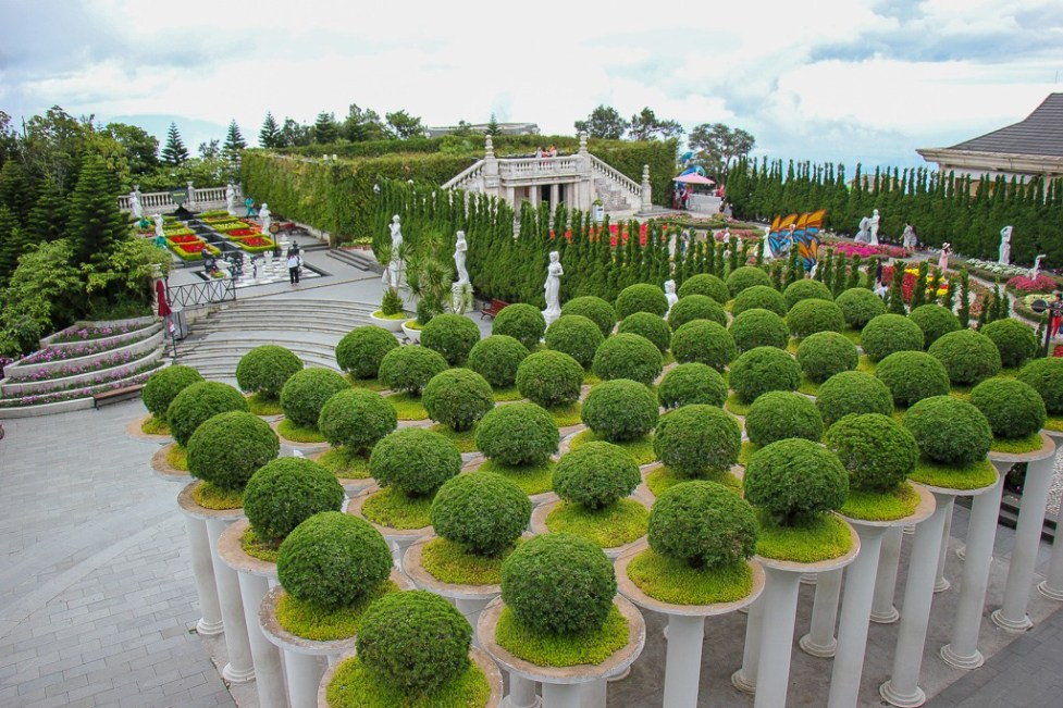 View over the Le Jardin d'Amour Flower Garden at Ba Na Hills in Da Nang, Vietnam