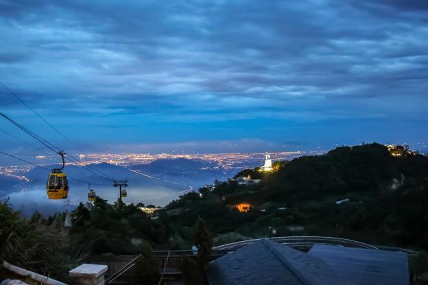 City views at night from Ba Na Hills in Da Nang, Vietnam