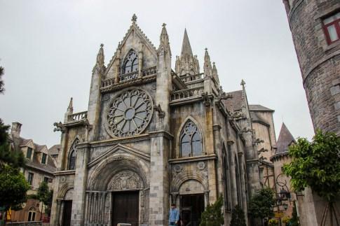 Replica St. Denis Church in French Village at Ba Na Hills in Da Nang, Vietnam
