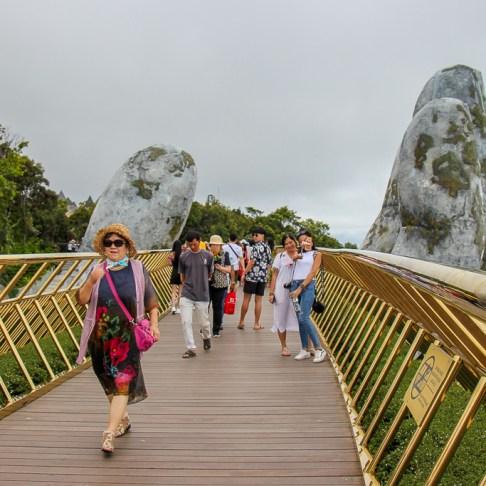 Crossing the Golden Bridge in Da Nang, Vietnam