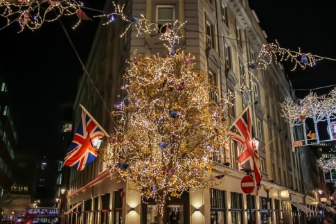 Christmas decorations at 7 Dials in London