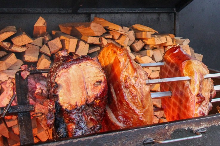 Traditional ham for Christmas in Prague, Czech Republic