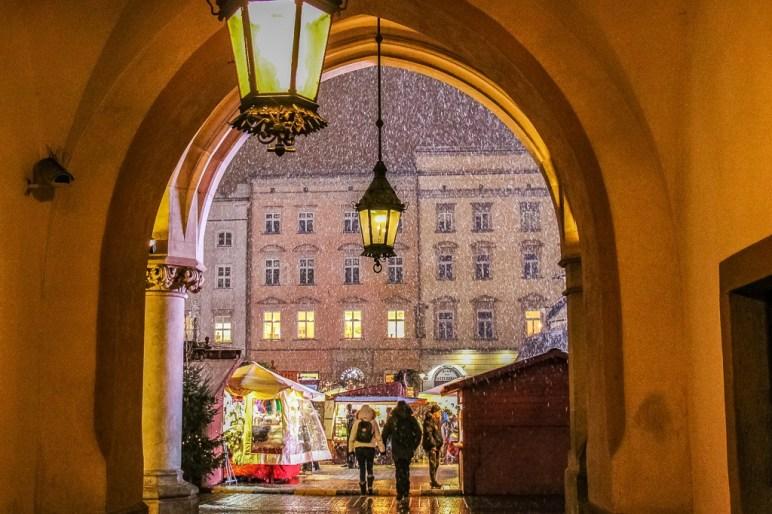 Snowy night at Krakow Christmas Market