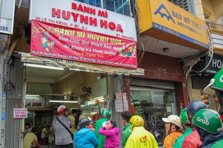 The line up for the best Banh Mi, Banh Mi Huynh Hoa, Saigon, HCMC, Vietnam