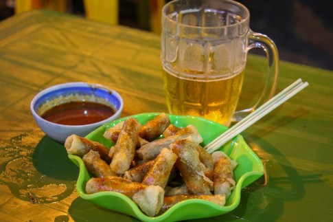 Fried spring roll bar snacks at beer corner in Hanoi, Vietnam