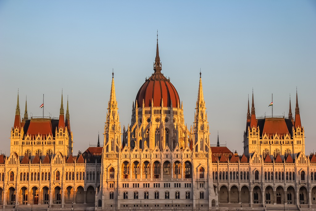 Spires and dome of Budapest Parliament Building in Hungary
