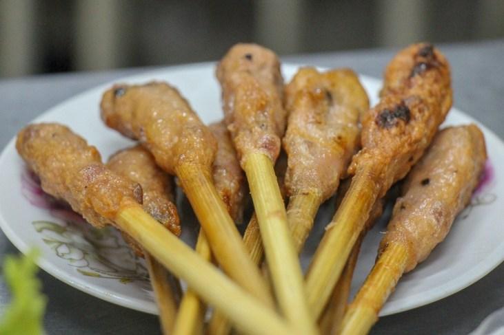 Meat on a stick at Banh Xeo Ba Duong, Da Nang, Vietnam