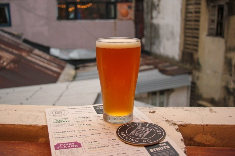 Rooftop table and menu, Pasteur Street Craft Beer, Ho Chi Minh City, Vietnam