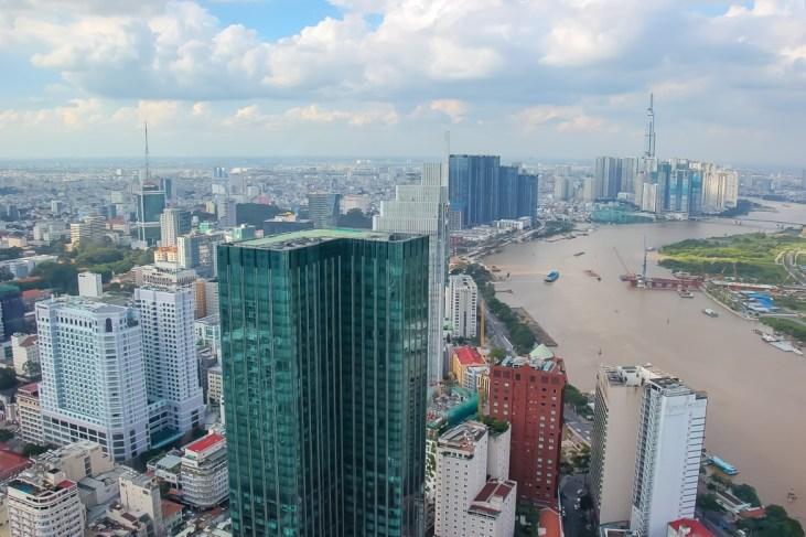 View of the Saigon River to the north from Saigon Skydeck, Saigon, HCMC, Vietnam