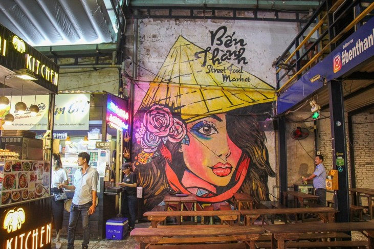 Street Art at the Ben Thanh Food Market, Saigon, HCMC, Vietnam