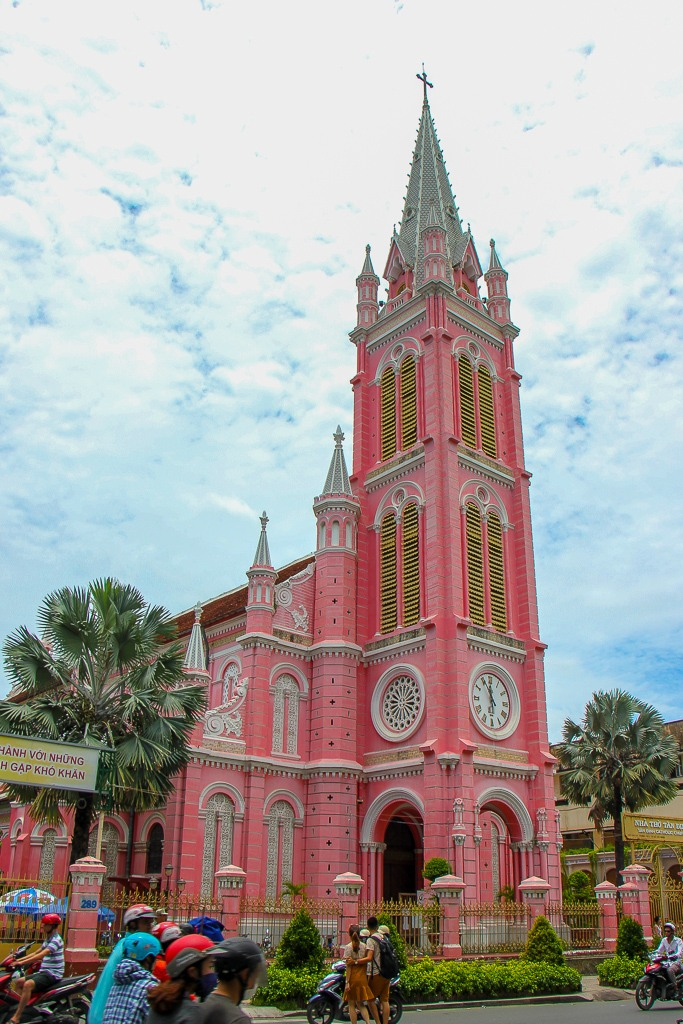 Can't miss the pink of the Tan Dinh Church, Ho Chi Minh City, Vietnam