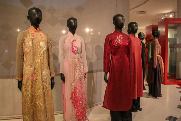 Women's Fashion and Traditional Dress Display at the Vietnamese Women's Museum in Hanoi, Vietnam