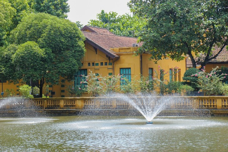 Fishpond and fountain at Uncle Ho's Stilt House in Hanoi, Vietnam