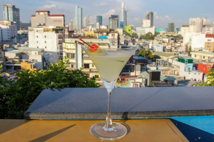 Martini and a great view, The View Rooftop, HCMC, Saigon, Vietnam